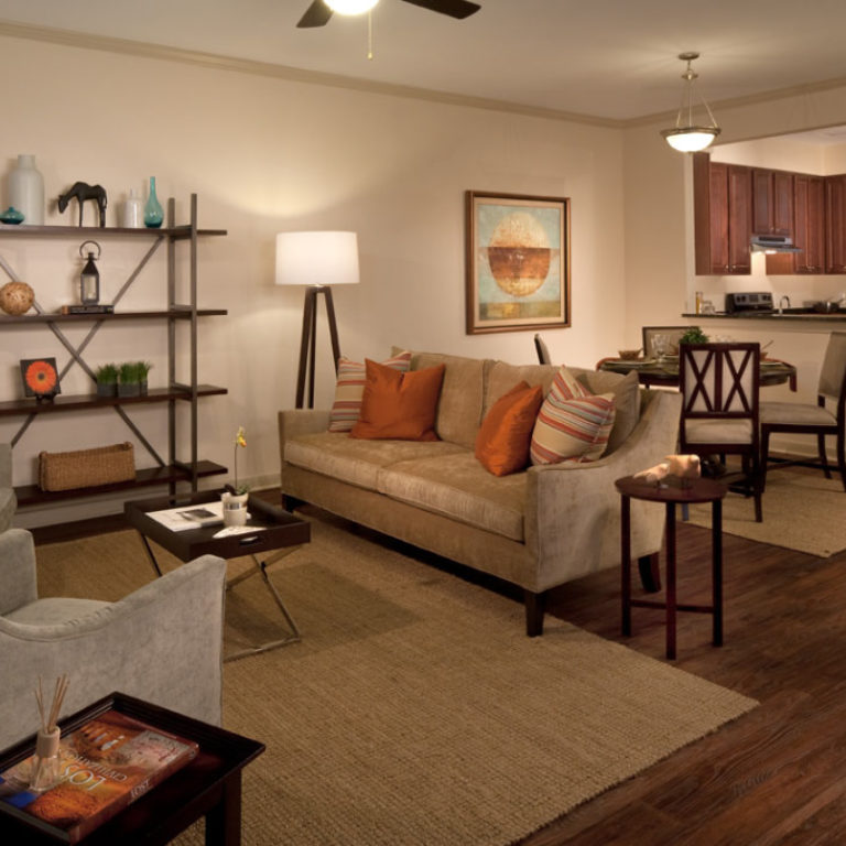 Residence living room at Columbia Parc at the Bayou District Community - New Orleans, LA