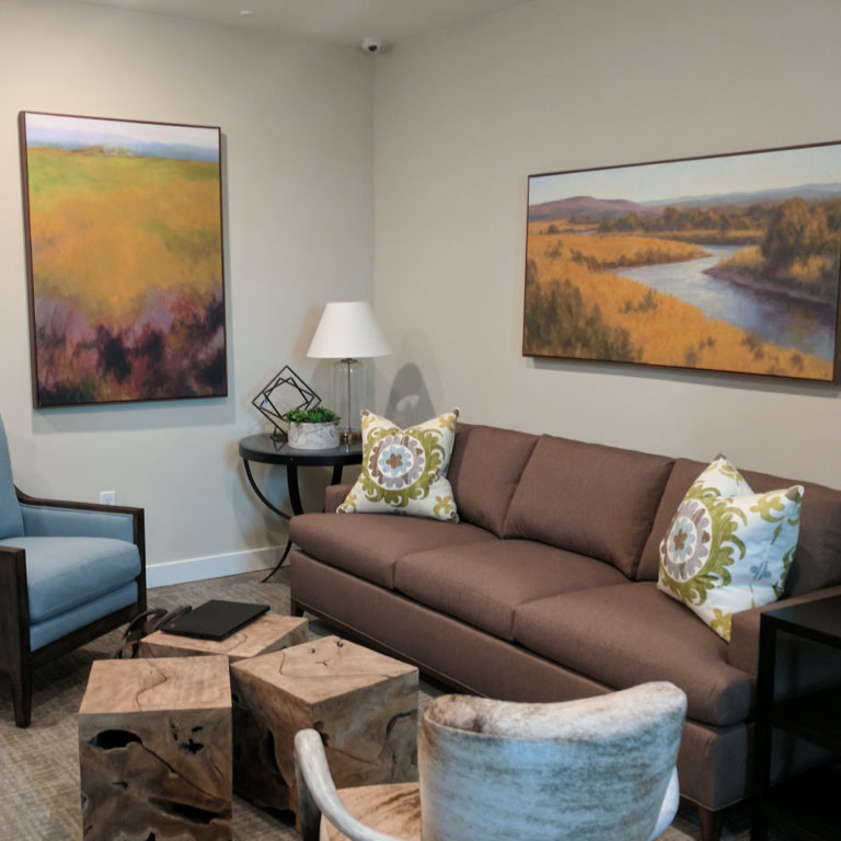 Apartment living room at Columbia Renaissance Square - Fort Worth, TX