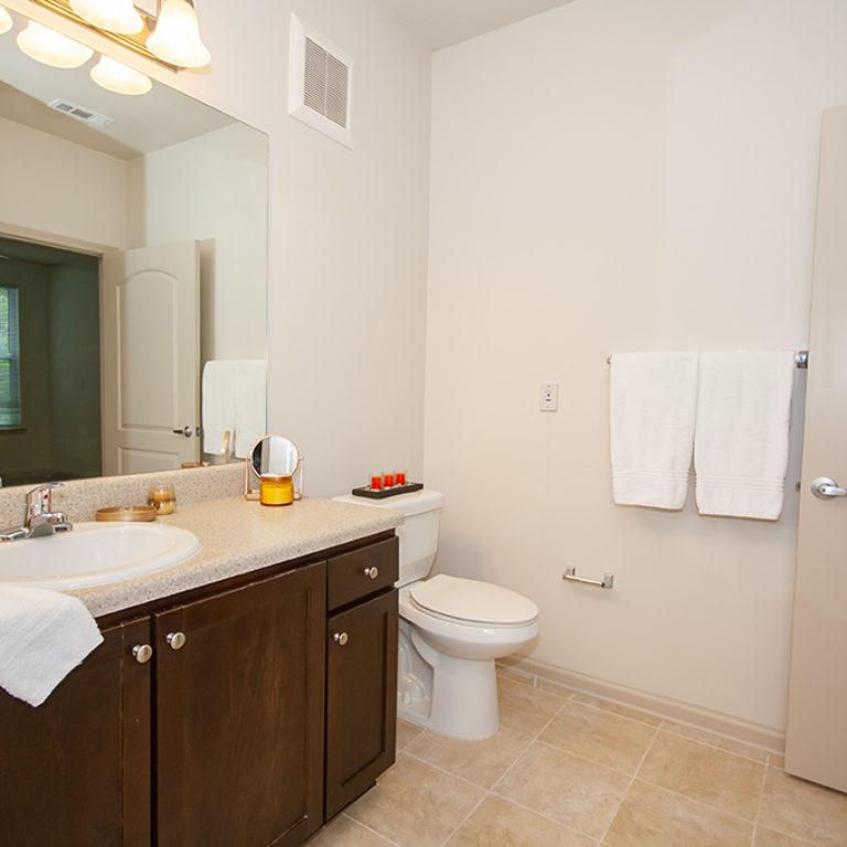 Apartment bathroom at Columbia Senior Residences at Forrest Hills - Senior Apartments at Decatur, GA