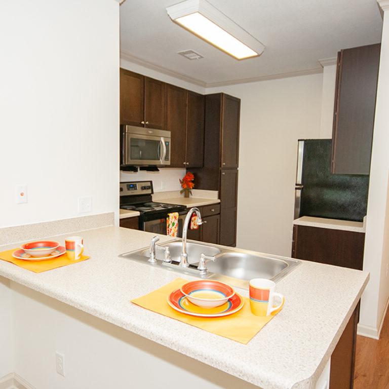 Kitchen interior at Columbia Senior Residences at Forrest Hills - Senior Apartments at Decatur, GA