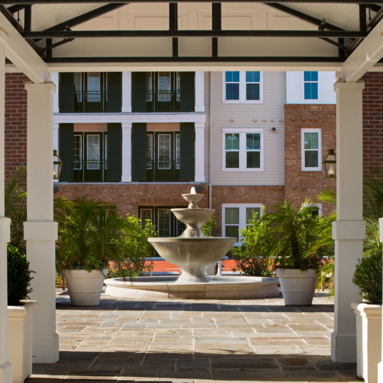 Foyer to outside fountain at Heritage Senior Residences at Columbia Parc - New Orleans, LA