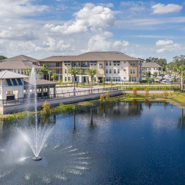 Aerial view of community and lake at Pendana West Lakes - Orlando, FL