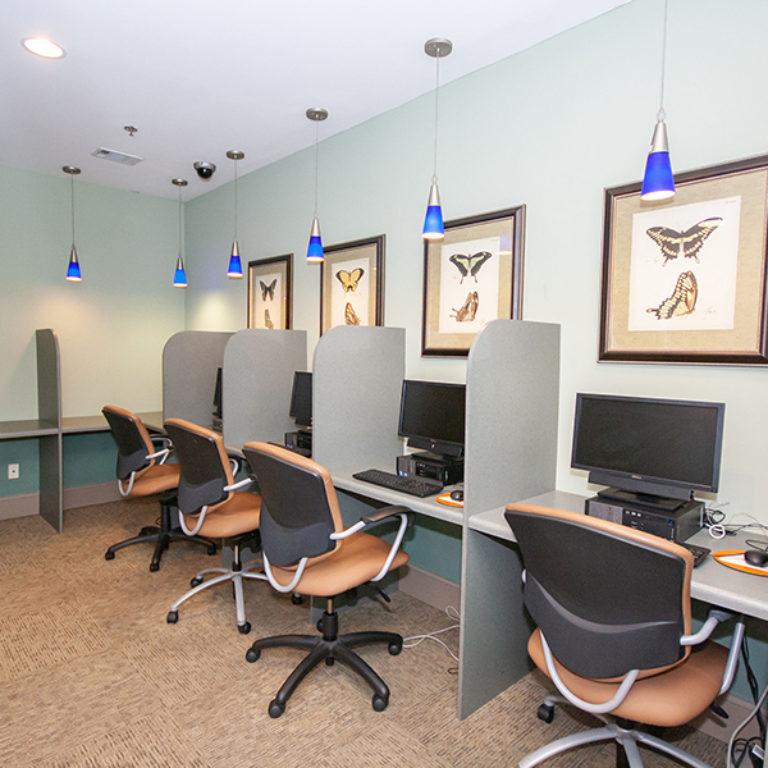 Business center at The Tower at Dorsey Manor Senior Residences - Senior Apartments in Marietta, GA