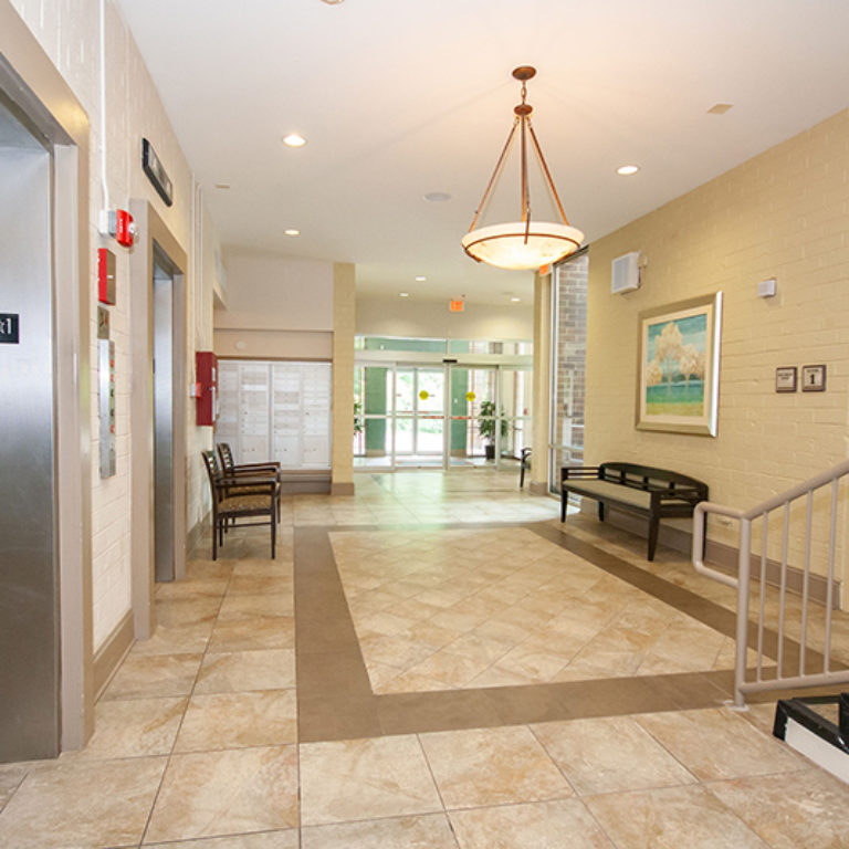 Lobby at The Tower at Dorsey Manor Senior Residences - Senior Apartments in Marietta, GA