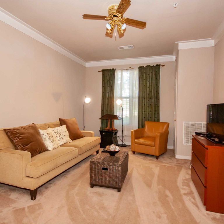 Apartment living room at Columbia Heritage Senior Residences - Apartments in Atlanta, GA