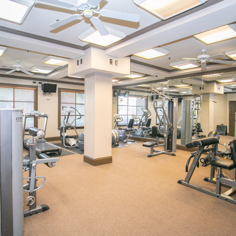 Fitness center at Columbia Sylvan Hills - Apartments in Atlanta, GA