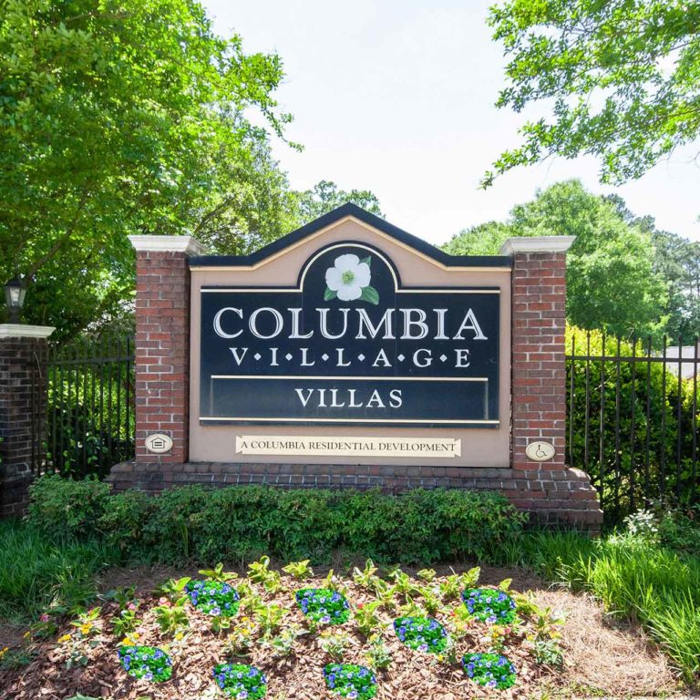 Community signage at Columbia Village - Apartments in Decatur, GA