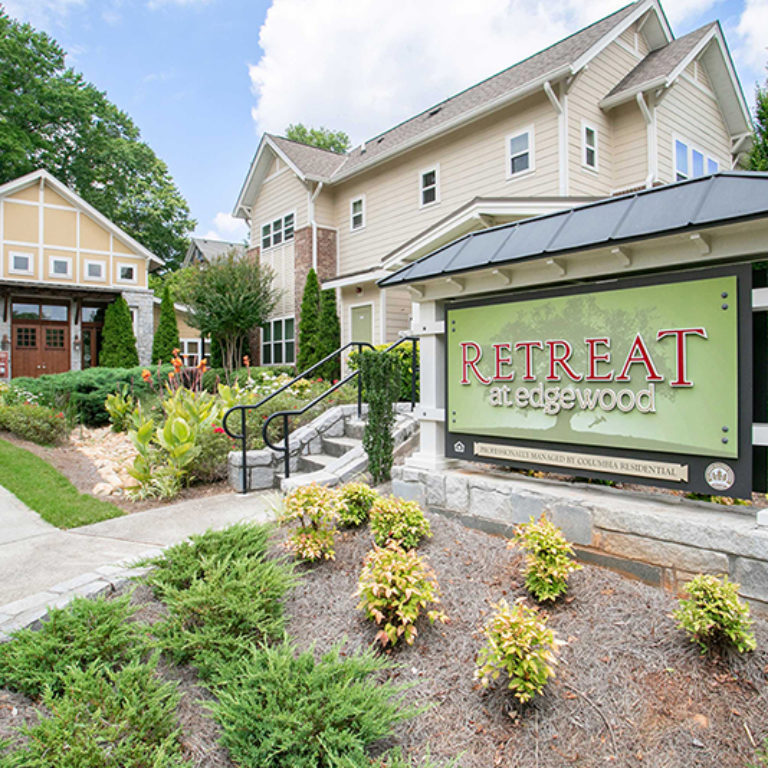 Community signage at The Retreat at Edgewood Townhomes - Apartments in Atlanta, GA