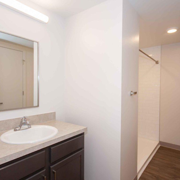 Residence bathroom at 10th and Juniper - Apartments in West Midtown Atlanta, GA